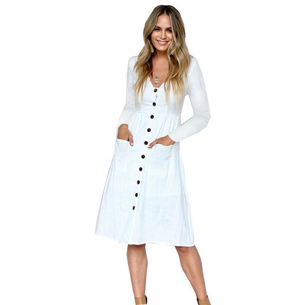 Vestido de manga larga decorar botón Mujer Casual Midi Beach camisa blanca Vestido de verano otoño 2018 Sexy con cuello en V dama elegante vestido