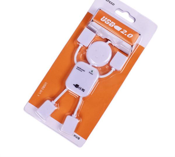 Portable Cute USB 2.0 Human Robot Man Shape 4 Port High-speed Mini Hub Split Extension Expansion Cable for PC Laptop DHL shipping