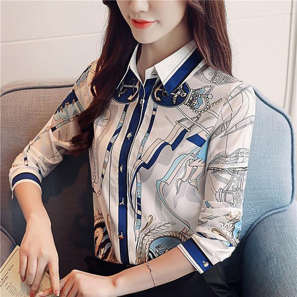 Nuove camicette delle donne di autunno 2018 Camicie stampate casuali Camicetta a maniche lunghe della camicia del POLO della camicia di modo Magliette