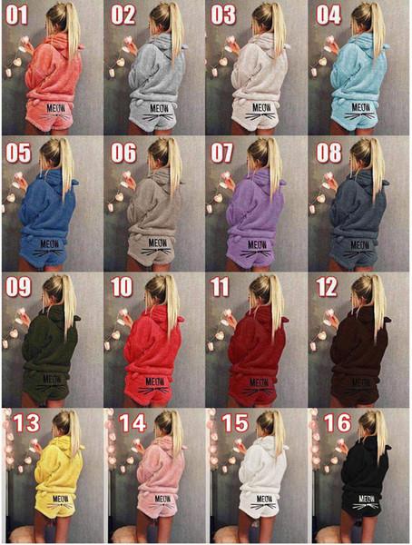 16styles Velvet Pajamas Cartoon Cat Embroidery Nightgown Casual Fashion Lady girl O-Neck Sleepwear Shorts Set clothes 2PCS/SET FFA1228