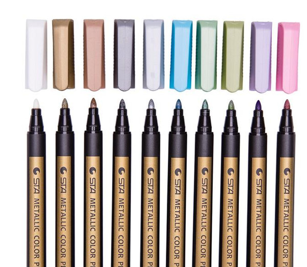 top popular Sta Metallic Color Pen Markers Painting Pens Medium Tip Pens Metal Art Permanent Marker School Writing Supplies 2021