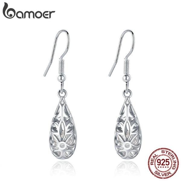 2 Colors Droplets Geometric Simple Openwork Drop Earrings For Elegant Fashion Beauty Girl Female Women 925 Sterling Silver Jewelry Gift