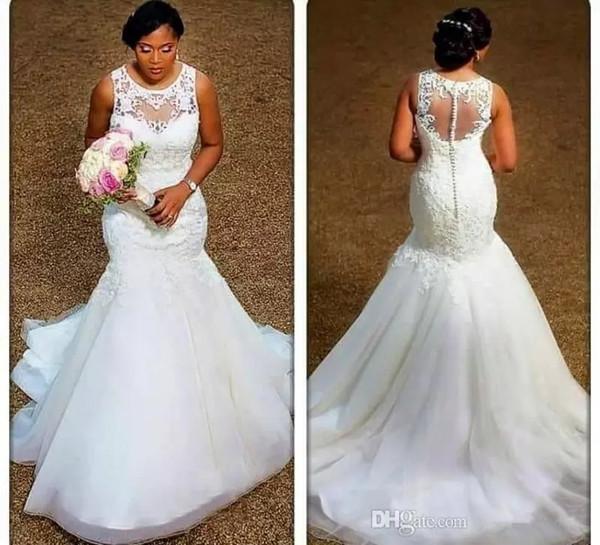 Sereia Vestidos de Casamento 2019 Sheer Neck Apliques de Renda Tule Plus Size Vestidos De Casamento Vestidos de Noiva de Alta Qualidade Ilusão de Volta