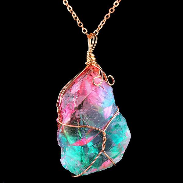 Toute vente1Pc New Rainbow Stone Cristal Naturel Chakra Rock Collier Plaqué Or Pendentif En Quartz NGift Pour Amoureux Amis
