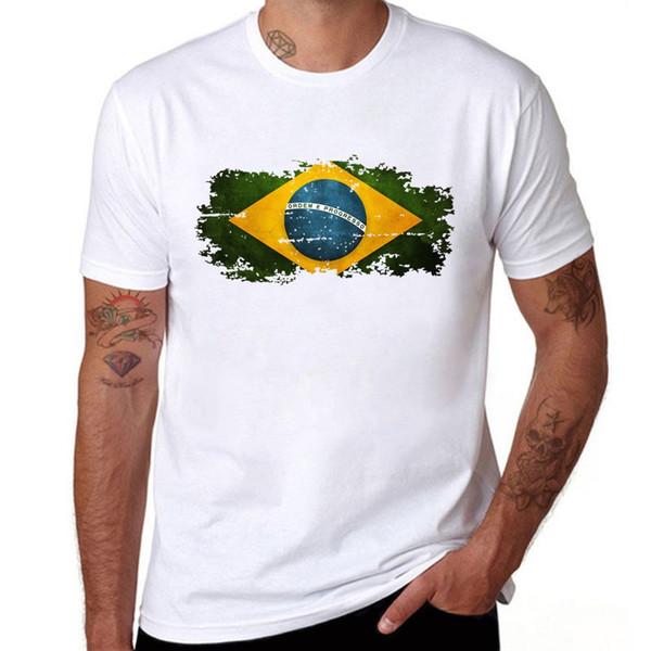 Brazil Flag T shirt Men Fashion Short Sleeve Cotton Summer T-shirts Popular Brazilian Flag Hip Hop Men Tees