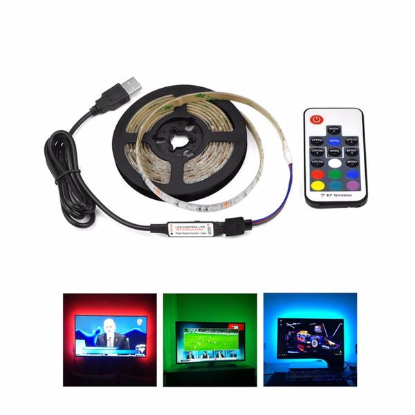 1M 2M 3M 4M 5M USB-Ladegerät führte Streifenlicht DC 5V 3528 SMD USB-Kabel LED-Bandstromversorgung LED-Lampe RGB mit IR-RF-Fernbedienung