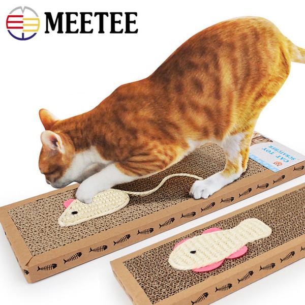 Sisal Bait Papel corrugado Flat Cat Scratch Board Sisal Mouse / Fish Cat Garra Garra Jugar Juguete