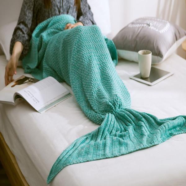 Hot Mermaid Blanket Handmade Knitted Sleeping Wrap TV Sofa Mermaid Tail Blanket Kids Adult Baby crocheted bag Bedding Throws bag