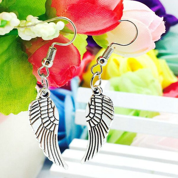 Hot Sale Zinc Alloy Antique Silver Angel Wings Feather Charm Dangle Earrings Fashion Creative Women's Girls Jewelry Accessories Holiday Gift