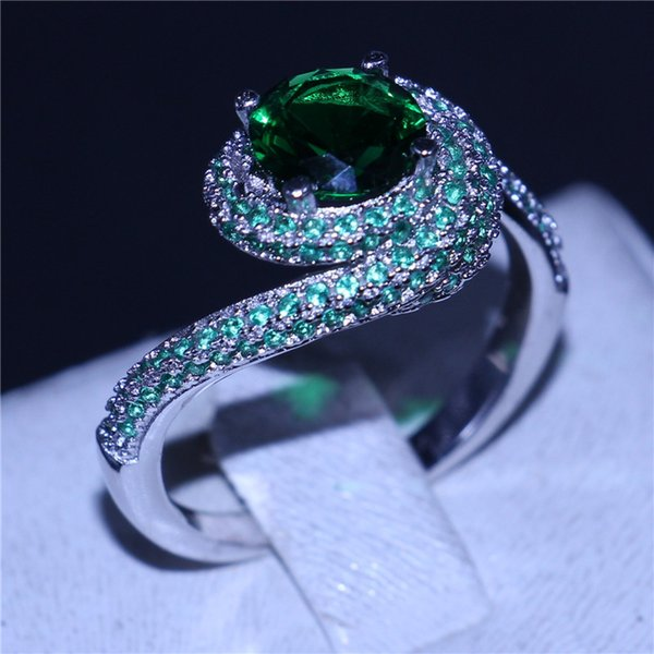 2017 Handmade Cross ring 925 Sterling silver 5A Green Cz Stone Engagement wedding band rings for women men Jewelry