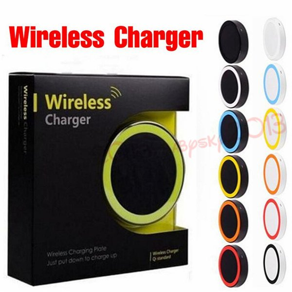 30pcs Colorful S6 Qi Wireless Charger Pad Cell phone Mini Charge Pad For Qi-abled device Samsung nokia htc LG cellphone with retail package