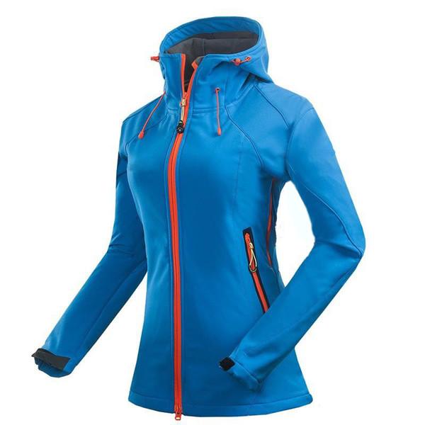 Atmungsaktiv Großhandel Kapuzenjacke Frauen Wasserdicht Fleece Outdoor Damen Ski Oberbekleidung Hoodie Softshell Jacke Winter Casual Winddicht nm80vNw