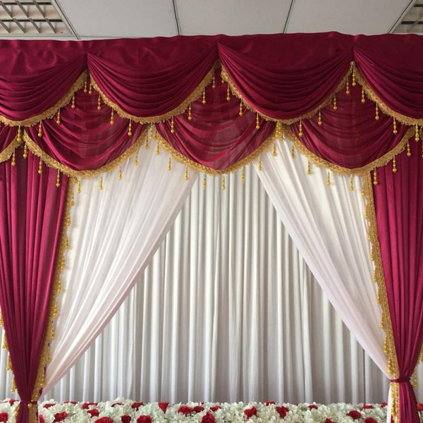 3mH*3mW ice silk white curtain wonderful wine red swags and drapes with gold tassels backdrop for wedding