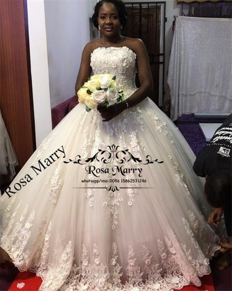 Bellanaija Vintage Lace Ball Gown Wedding Dresses 2019 3d Floral