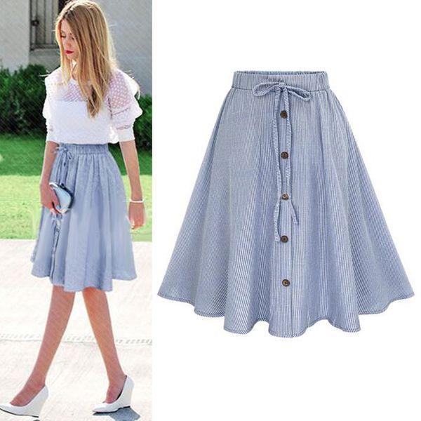 2018 Лето женщины юбка старинные полосы печати шнуровке кнопка высокой талией юбки платье плиссированные хлопок миди юбки до колен