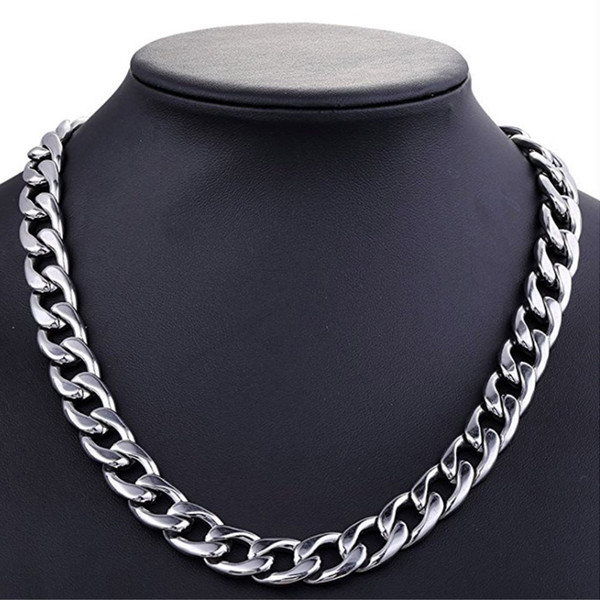 Silver Tone 11 mm Cool Stainless Steel Necklace Chain N294 50CM 60CM 70CM hip pop N294