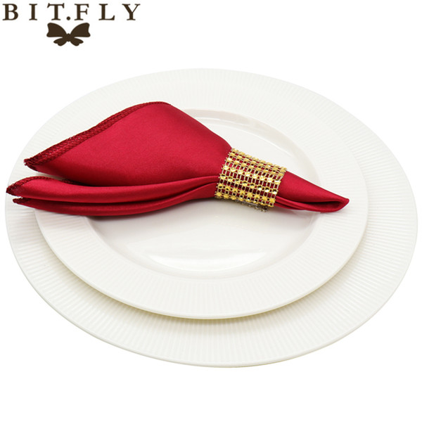 top popular 50pcs 30cm Table Napkins cloth Square Satin Fabric Napkin Pocket Handkerchief for Wedding birthday home party Hotel gold white 2021