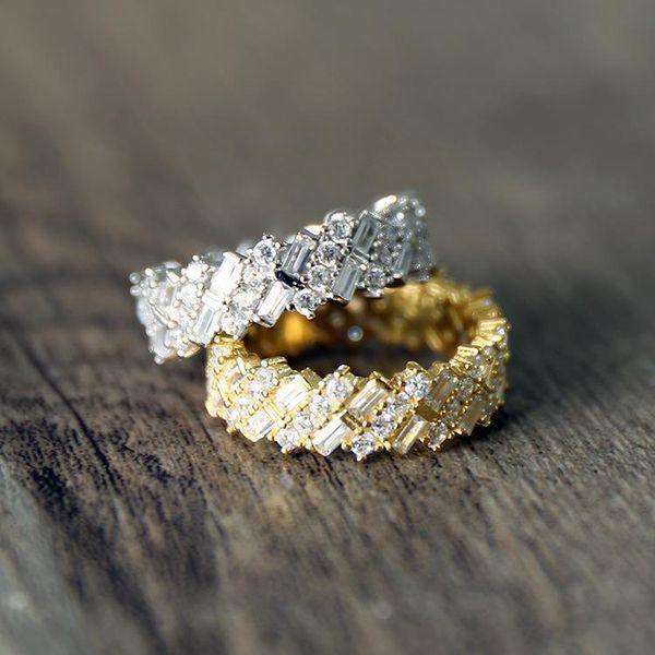 Joyería caliente Estilo del Medio Oriente exquisito anillo de diamantes de cobre micro-anillo Anillo de diamante completo hombres y mujeres anillo regalo dos colores