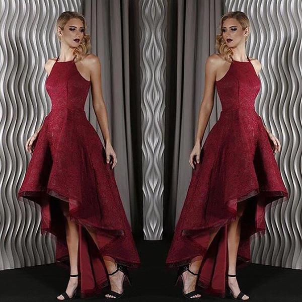 Dubai Árabe Nova Chegada Escuro Vermelho Hi-Lo Vestidos de Baile Halter Pescoço Completo Rendas A Linha Pregas Formal Vestidos de Festa Vestido de Noite Personalizado