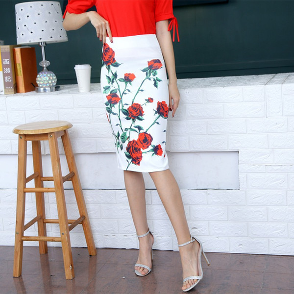 2018 floral print block letter skirts summer split hem bodycon pencil skirt zipper back knee-length elegant cotton skirt, Black