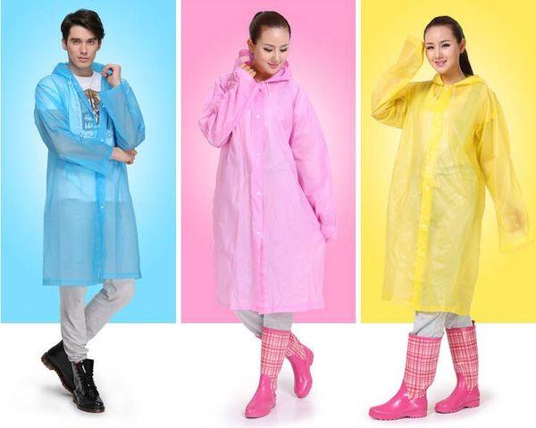 Wholesale Fashion Women men EVA Transparent Raincoat Portable Outdoor Travel Rainwear Waterproof Camping Hooded Ponchos Plastic Rain Cover