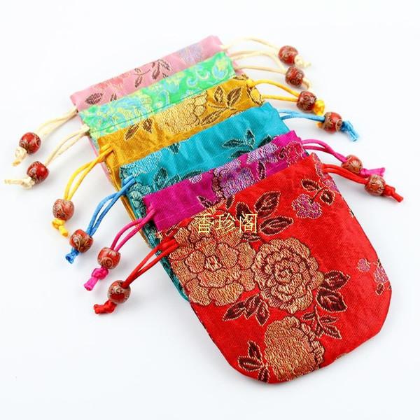 Poche en soie chinoise pas cher sac de bonbons de Noël cordon sac à cordon mini cadeau sacs de fête de mariage faveur 50 pcs / lot