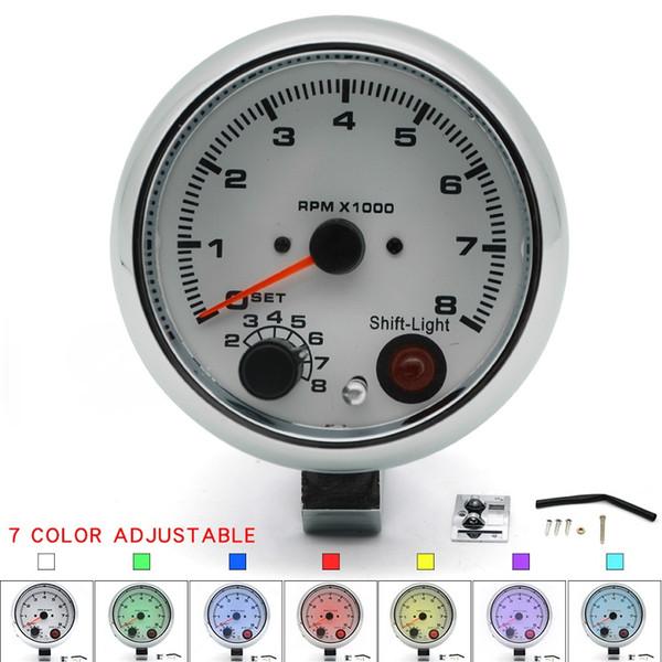 "3.75/"" 95MM ELECTRICAL TACHOMETER GAUGE //AUTO GAUGE BLACK FACE 7 COLOR"