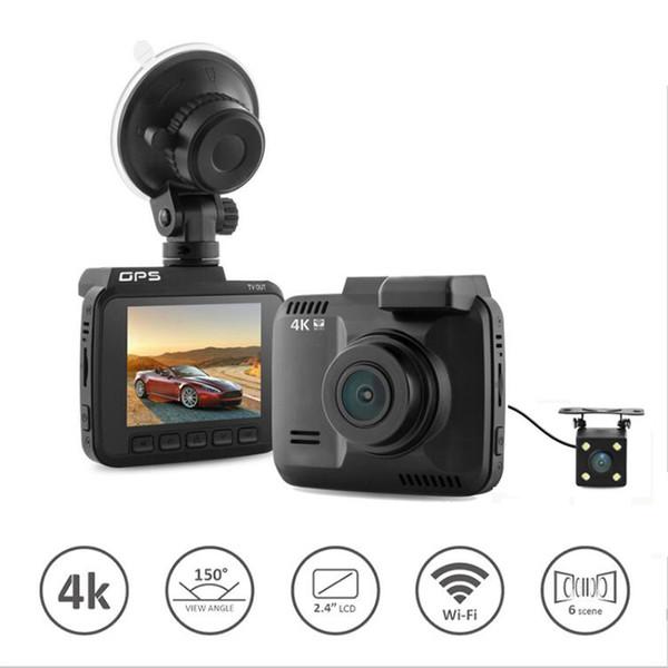 "4K Wifi Car DVR camera Recorder Dash Cam G-sensor 2.4"" Novatek 96660 Car Camera Built-In WiFi & GPS Camcorder 4K 2880x2160P dual cameras"