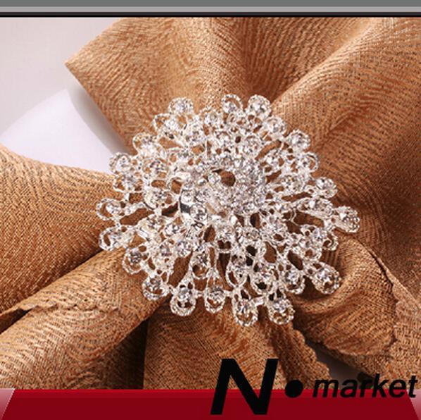 Free Shipping Flower Crystal Peacock Diamond Napkin Rings For Table Decoration Wedding Flower Napkin Holders