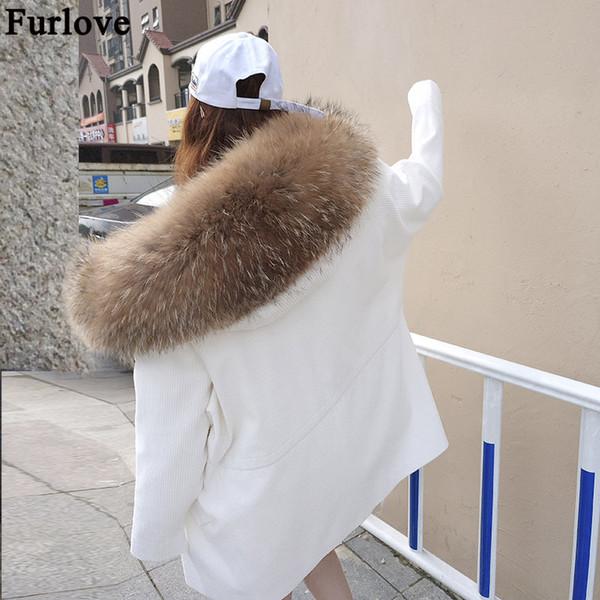 Furlove casaco de pele real casaco de pele de guaxinim das mulheres casaco de pele com capuz outwear destacável longo forro estilo jaqueta de inverno