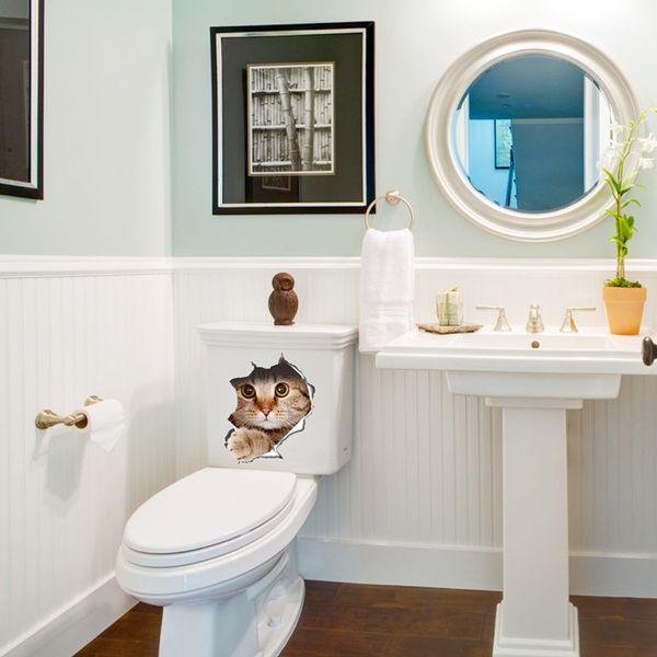 Acheter 3D Chats Autocollant Mural Sur La Toilette Autocollants Salle De  Bains Décoration Murale Animaux Stickers En Vinyle Art Affiche Murale WC ...