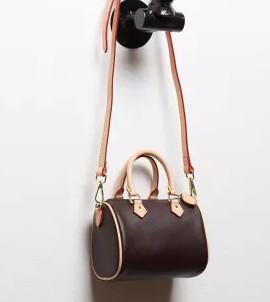 Female NANO bucket brown flower mini pillow bag SPEEDY shoulder bag M61252 Mini cute handbag leather single shoulder cross bags 16cm