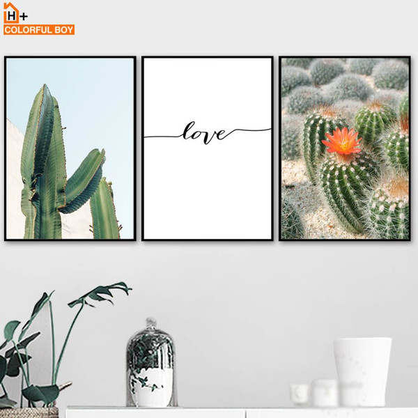 COLORFULBOY Wall Art Canvas Painting Cactus Landscape Nordic Posters And Prints Pop Art Canvas Pictures For Living Room Decor