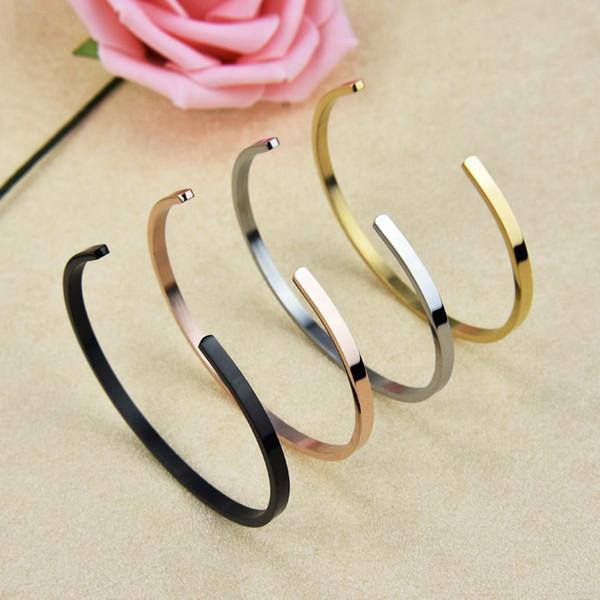 4 cores de alta qualidade em aço inoxidável manguito 18 K banhado a ouro amarelo moda jóias Hip hop pulseira pulseira para mulheres homens