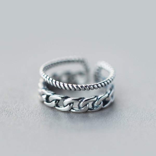 Echt. 925 Sterling Silber Schmuck Einstellbare Multi-Row Twisted Band Ring GTLJ883