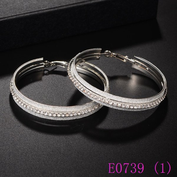 3 set Crystals Earrings For Women Big Circle Fashion dull polish and Rhinestone Hoop Earing Trendy Jewelry Girls Gifts E0739