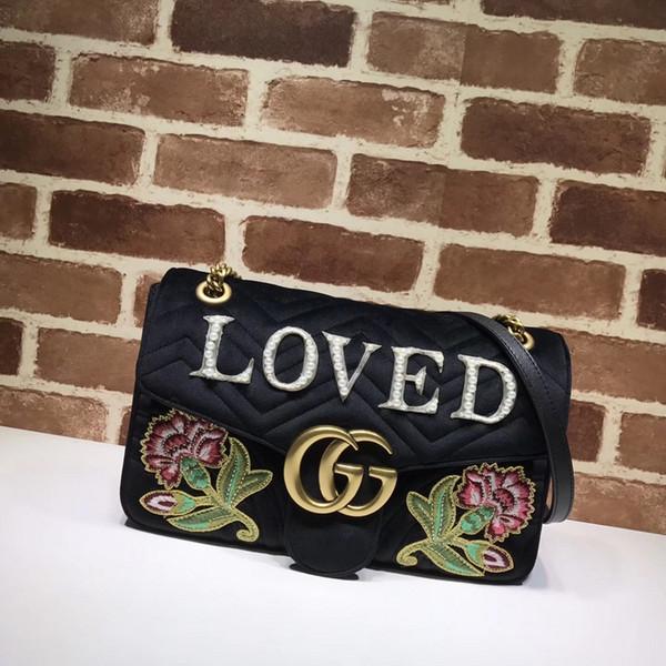 Top-Qualität Luxus-Marke Design Brief bestickt Blumen Herz V-förmige Schulter Kette Tasche Samt Leder Frau 443496 Große Handtasche