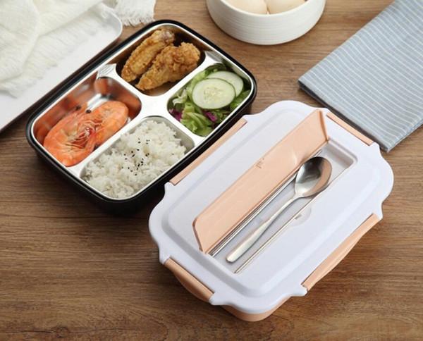Bento Lunch Box Contenitore per alimenti Contenitore per alimenti per adulti Bambini Microonde 4 Contenitori in acciaio inox con coperchio Set da picnic portatile