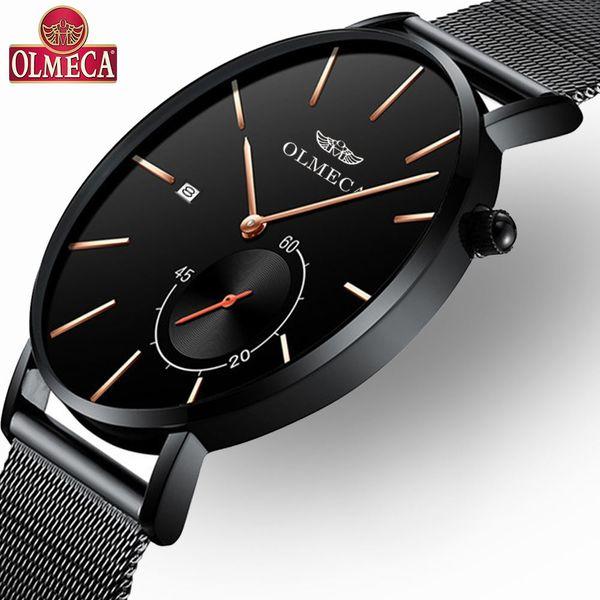 OLMECA горячий продавать хронограф часы классический бизнес Relogio Masculino наручные часы 3ATM водонепроницаемый мужские часы сплава группа