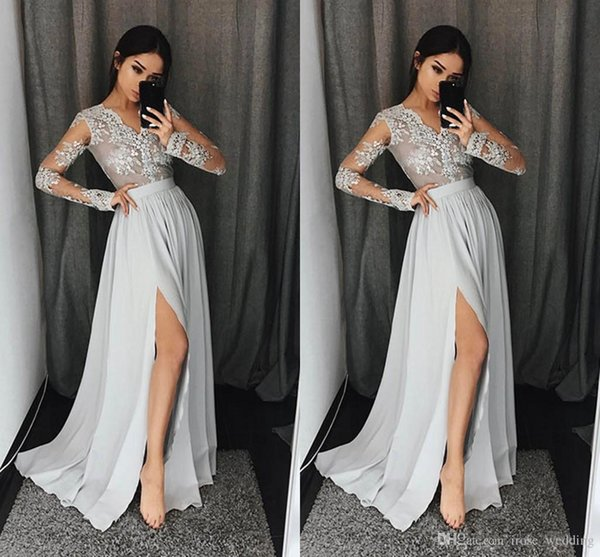Elegant A-Line Split Prom Dress Long V Neck Illusion Lace Appliques Long Sleeves Floor Length Chiffon Dresses Party Evening Gowns Custom