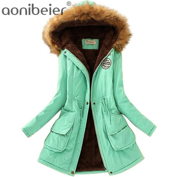 2018 Kadın Palto Moda Sonbahar Sıcak Kış Ceketler Kadın Yaka Uzun Artı Boyutu Hoodies Pamuk Dış Giyim