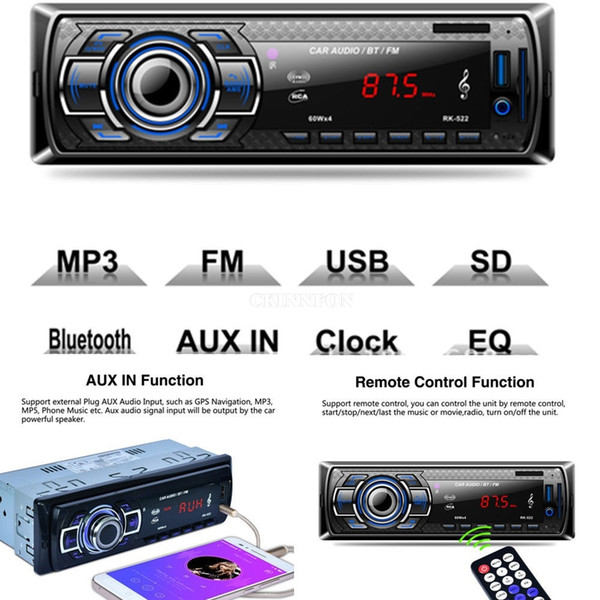DHL 10PCS Reproductor de MP3 para automóvil Radio Estéreo Bluetooth Unidad principal MP3 / USB / SD / AUX-IN / FM In-dash AUX RK-522 (Color: Negro)