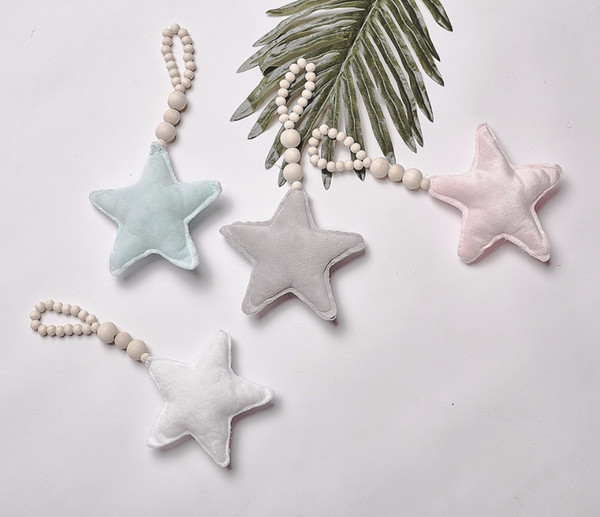 Nordic Style Stuffed Star Heart Plush Wooden Beading Toys Wall Decor #135 Kids Wood Toy Photograp Props
