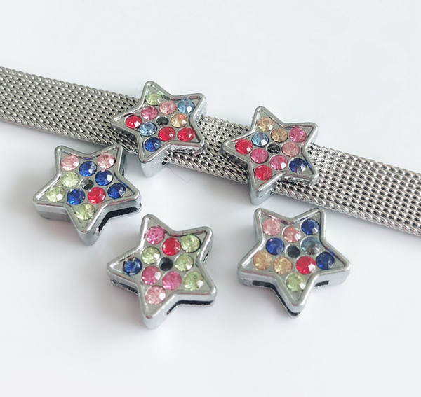 10pcs 8MM Colorful Rhinestone Star Slide Charms Beads DIY Accessories Fit 8mm Pet Collar Belts Bracelets Tags