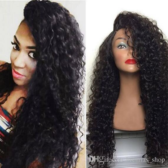 Hot sale kinky curly Human Hair Wigs small curl full ends 7A Brazilian Glueless front Lace Wigs Human Hair Lace Front Wigs for Black Women