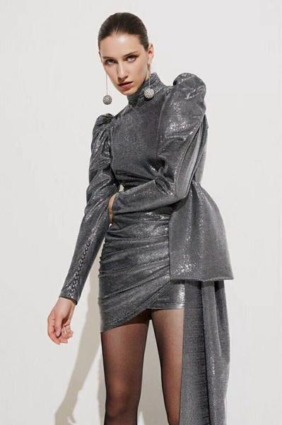 Chegam novas de prata vestido de festa Puff luva irregular sexy bodycon mulheres se vestem sem encosto mini