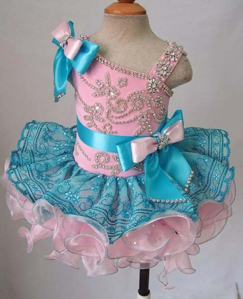 Real Pretty Mini Short Girls Pageant Dresses Zipper Back Crystals Beaded Cute Flower Girl Dresses Vestido De Desfile Cupcake Dress