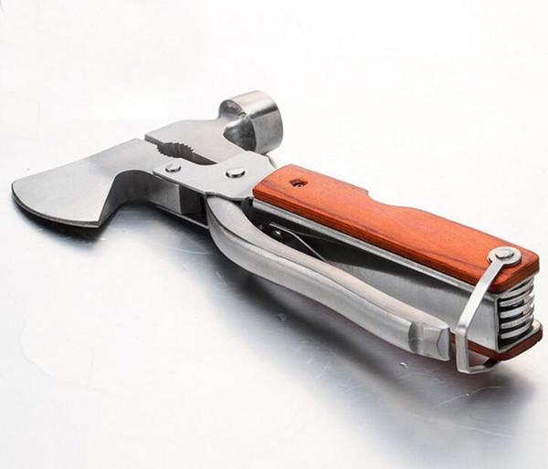 Toptan Açık acil multifuction Hammer Axe tornavida ile bıçak testere pense hayat kurtarıcı