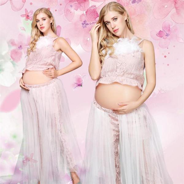 Vestiti per le donne incinte Estate Moda femminile Maternità Abbigliamento 2 pezzi Set Pink Sweet Clothes Photo Shoot Gonna Camicie 5mc028