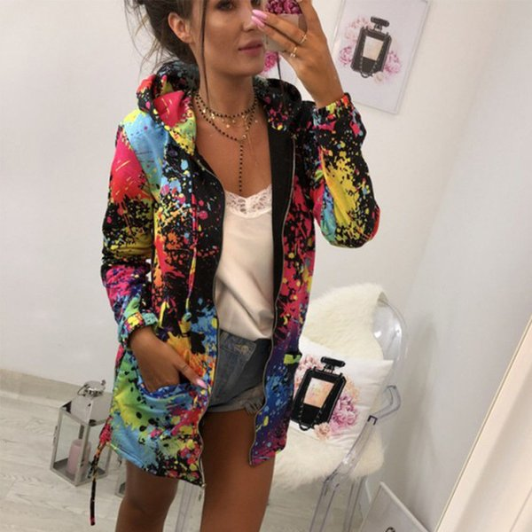 Çok renkli Kadınlar Kış Bahar Sıcak Hoodies Kapşonlu Ceket Ceket Uzun Kollu Cep Fermuar Giyim Hırka Jumper Tops